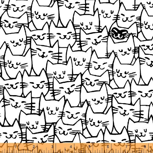 Cat Happy - Cat Faces - White  Fabric - StoryQuilts.com