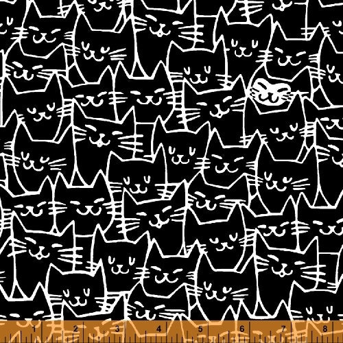 Cat Happy - Cat Faces - Black  Fabric - StoryQuilts.com
