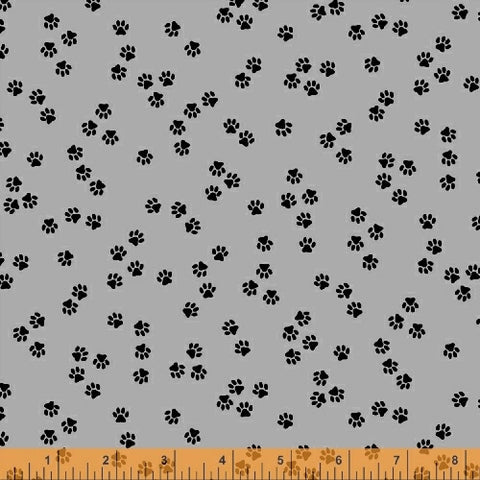 Cat Happy - Paws- Grey  Fabric - StoryQuilts.com