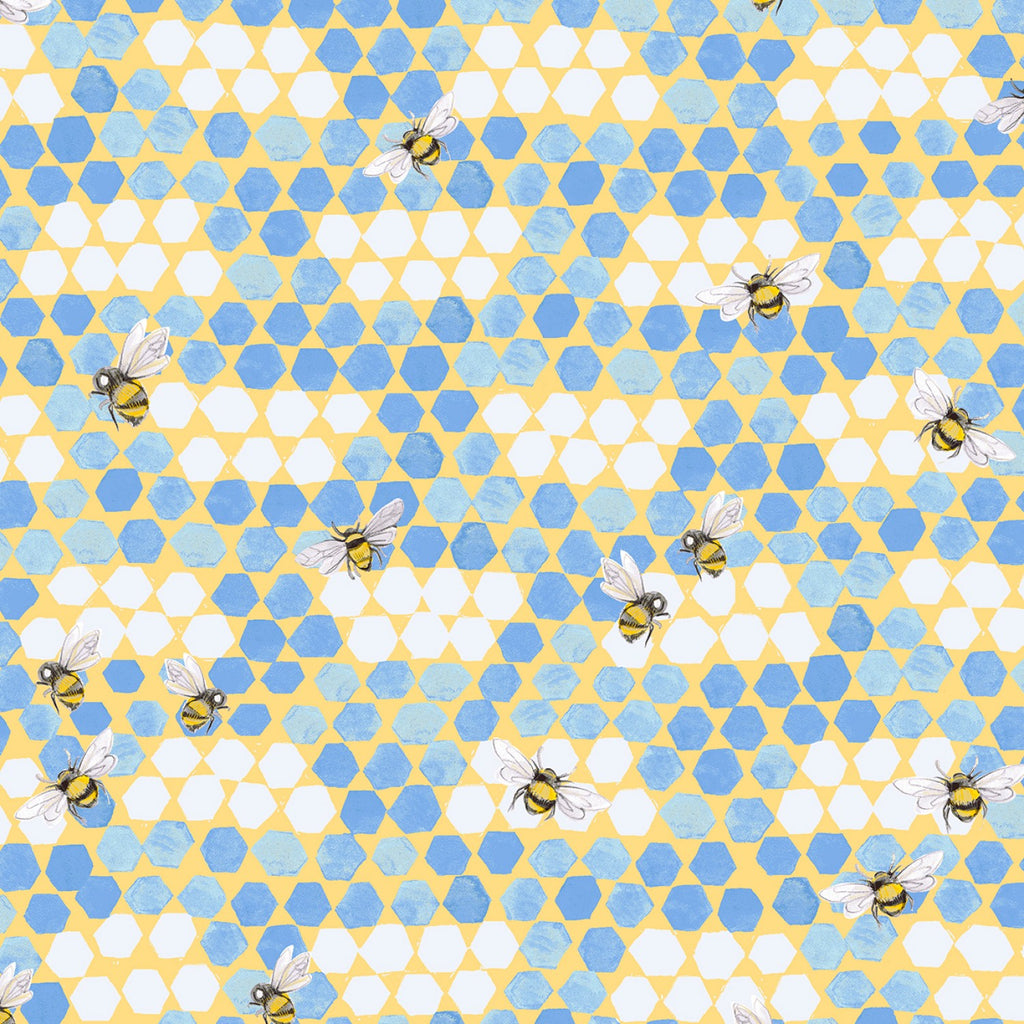 Bees Blue Jay  Fabric - StoryQuilts.com