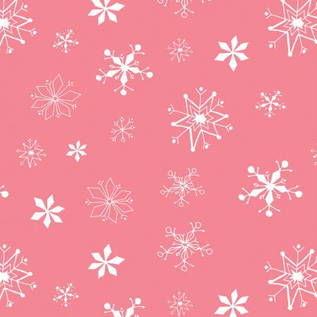 Dark Pink Snowflakes  Fabric - StoryQuilts.com