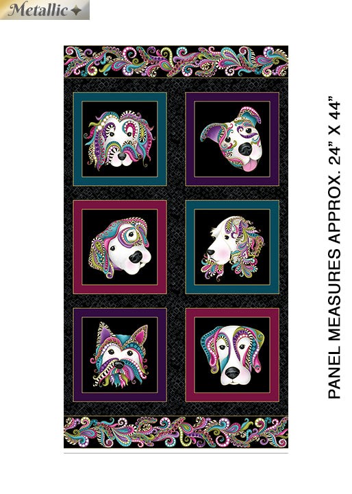 Dog on It -Black/Multi Dog on It Panel w/Metallic