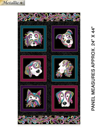 Dog on It -Black/Multi Dog on It Panel w/Metallic  Fabric - StoryQuilts.com