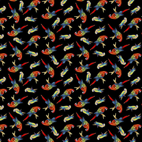 Black Tossed Parrots Digitally Printed  Fabric - StoryQuilts.com