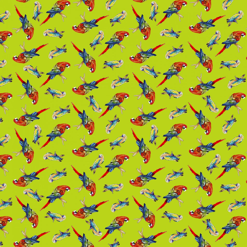 Lime Tossed Parrots Digitally Printed  Fabric - StoryQuilts.com