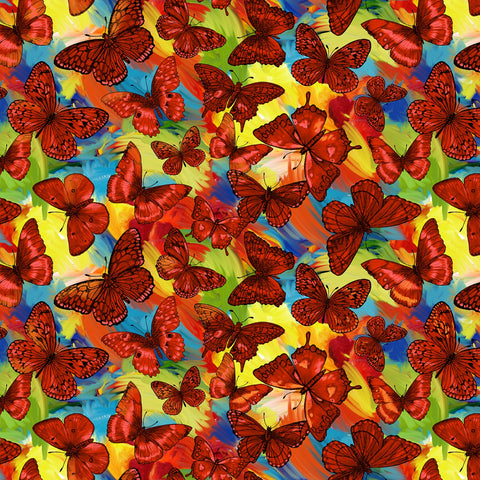 Orange Butterfly Magic Digitally Printed  Fabric - StoryQuilts.com