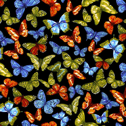 Black Rainbow Butterfly Digitally Printed  Fabric - StoryQuilts.com