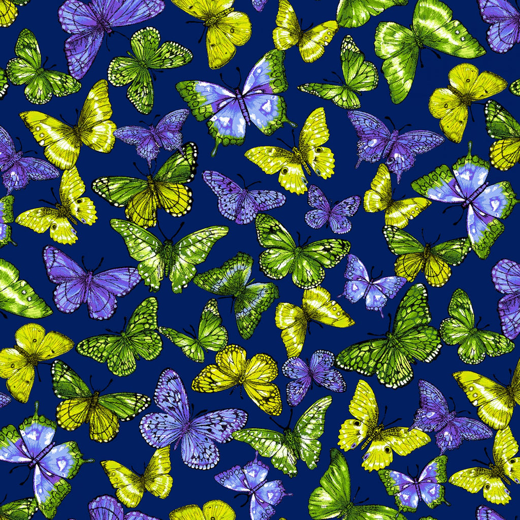 Blue Rainbow Butterfly Digitally Printed  Fabric - StoryQuilts.com