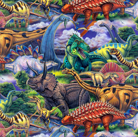 Age of Dinosaurs Multi Print  Fabric - StoryQuilts.com