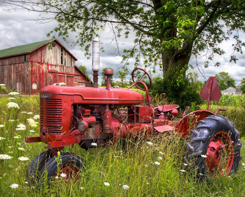 "Tractor and Barn Panel Digital Print 36"" wide"