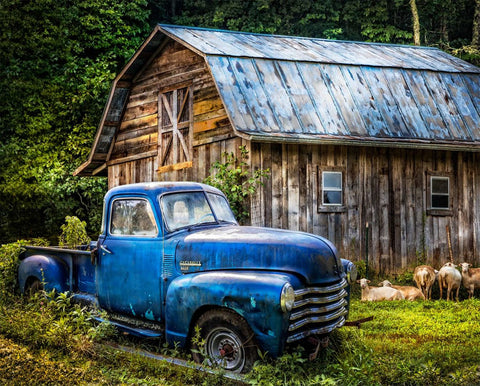 "Blue Truck at the Barn Panel Digital Print 36"" wide"