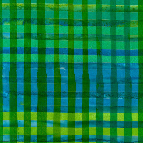 Green Hand Painted Gingham Batik  Fabric - StoryQuilts.com