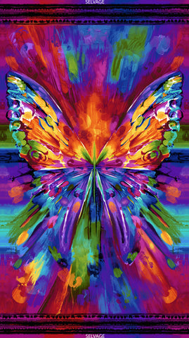 Awaken - Abstract Butterfly Panel  Fabric - StoryQuilts.com