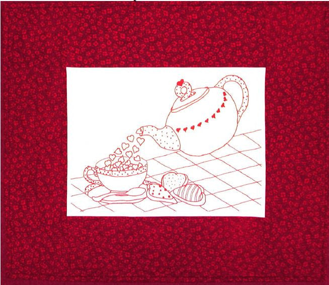 A cup of Love - Redwork  Pattern - StoryQuilts.com