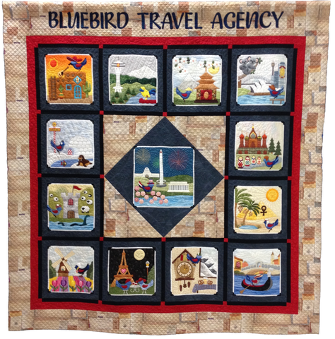 Bluebird Travel Agency - 14 Finishing  Pattern - StoryQuilts.com