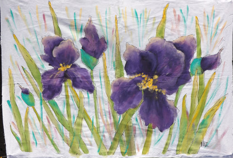 Bearded Iris  Hand Painted - StoryQuilts.com