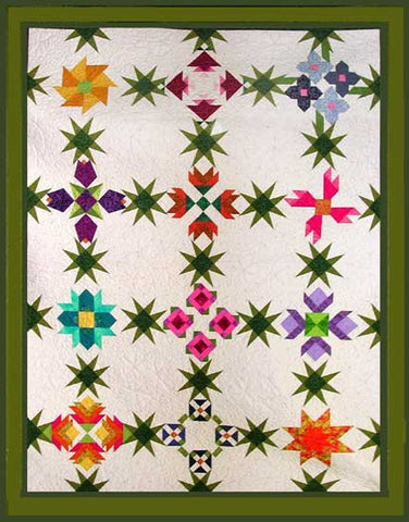 Pieced quilt, flowers, traditional quilt, story quilts