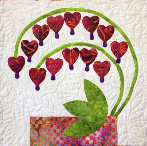 Flowers from Tangiers – Bleeding Hearts  Pattern - StoryQuilts.com