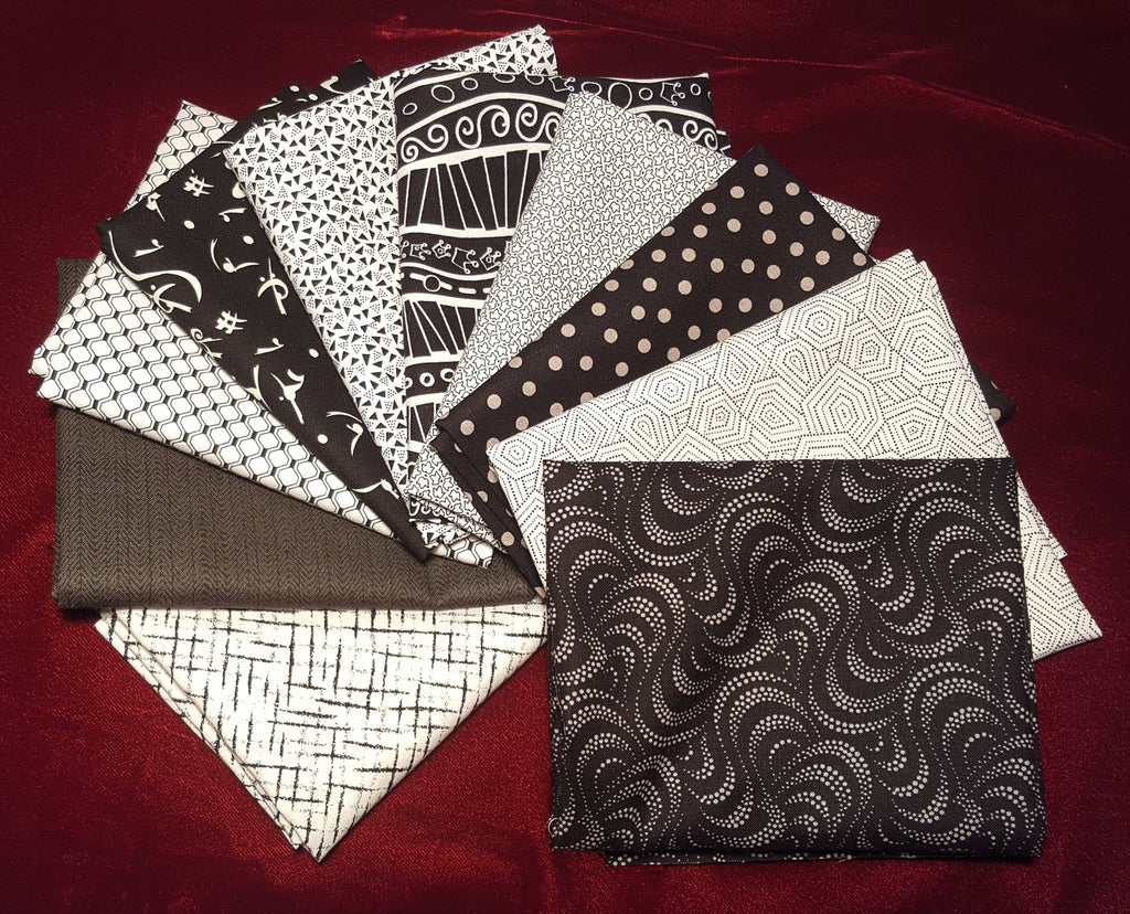 Black, White and Gray Fat Quarter Collection  Fabric - StoryQuilts.com