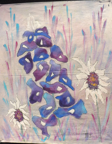 Bluebonnet with Sunflowers  Hand Painted - StoryQuilts.com