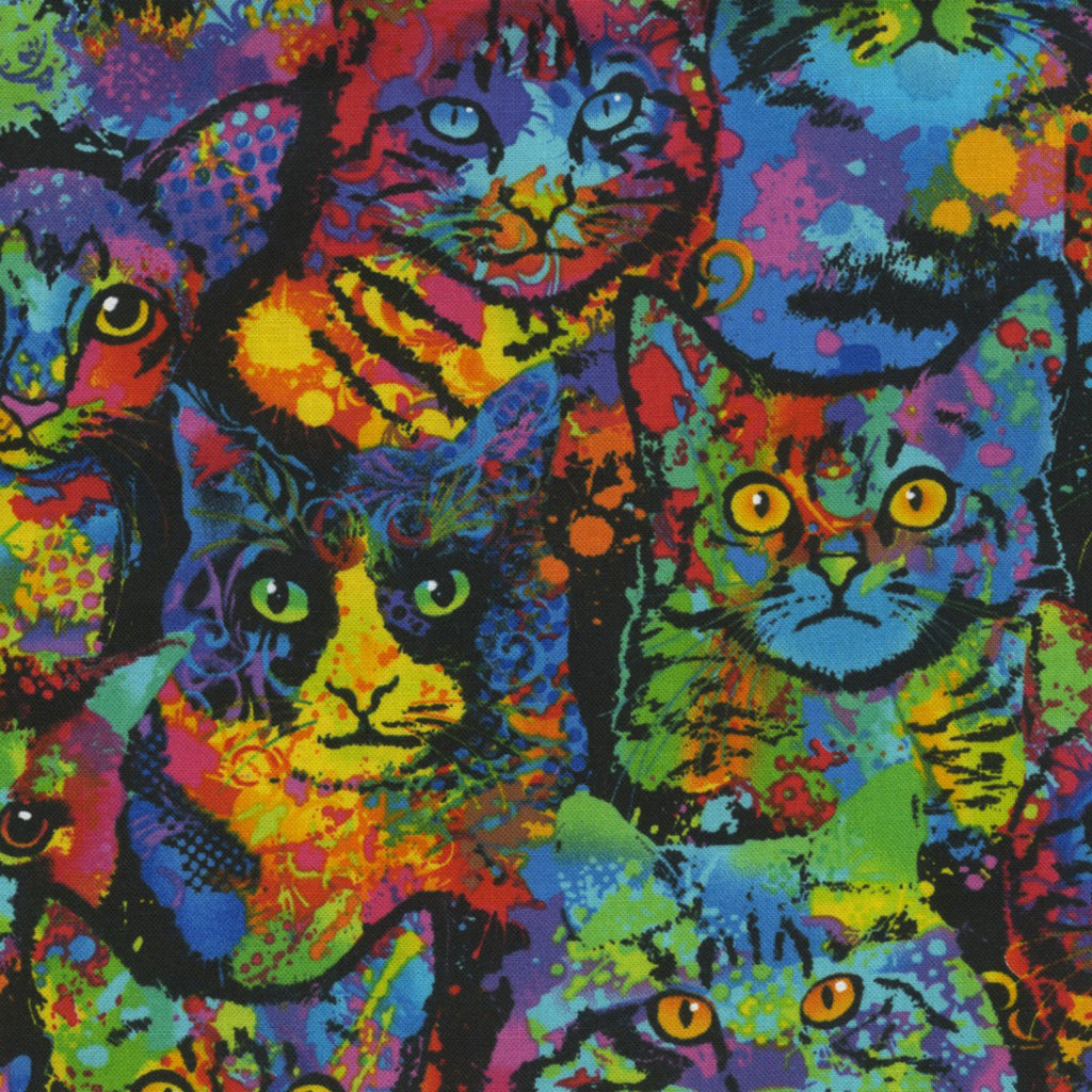 Multi Colored Packed Cats  Fabric - StoryQuilts.com