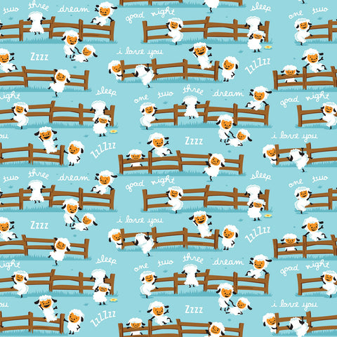Harmony Sheep Dream Blue  Fabric - StoryQuilts.com