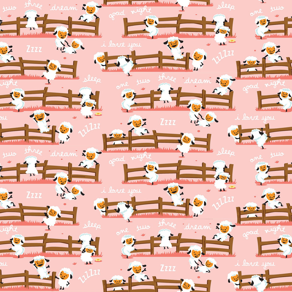 Harmony Sheep Dream Pink  Fabric - StoryQuilts.com
