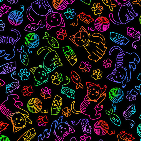 Doodle Cat Rainbow by Timeless Treasures  Fabric - StoryQuilts.com