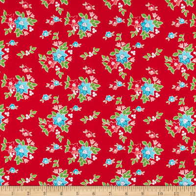 Seaside Floral Red  Fabric - StoryQuilts.com