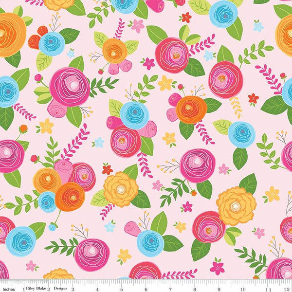 Simply Happy Main Pink  Fabric - StoryQuilts.com