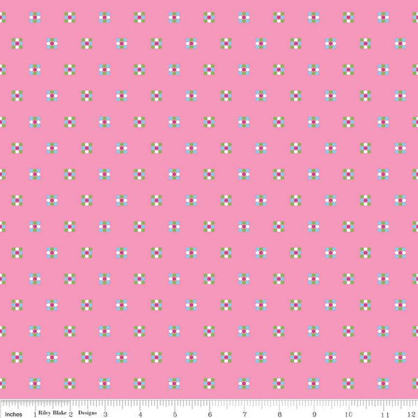 Simply Happy Honeycomb Pink  Fabric - StoryQuilts.com
