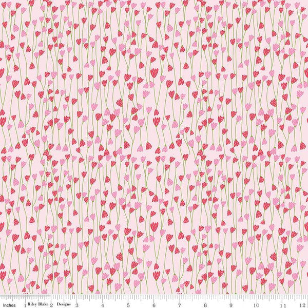 Simply Happy Vine Pink  Fabric - StoryQuilts.com
