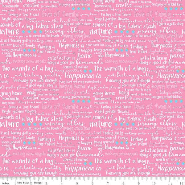 Simply Happy Text Pink  Fabric - StoryQuilts.com