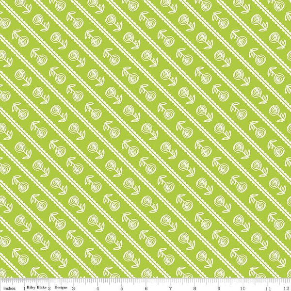 Simply Happy Stripe Lime  Fabric - StoryQuilts.com