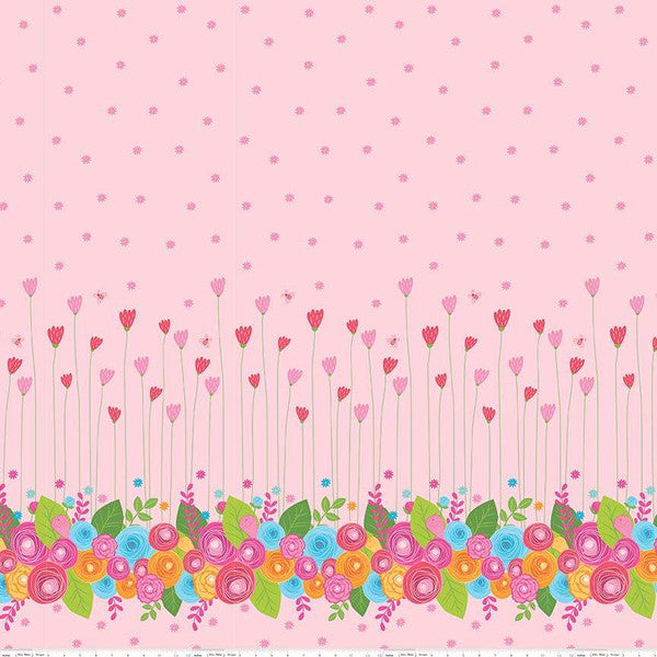 Simply Happy Border Pink  Fabric - StoryQuilts.com