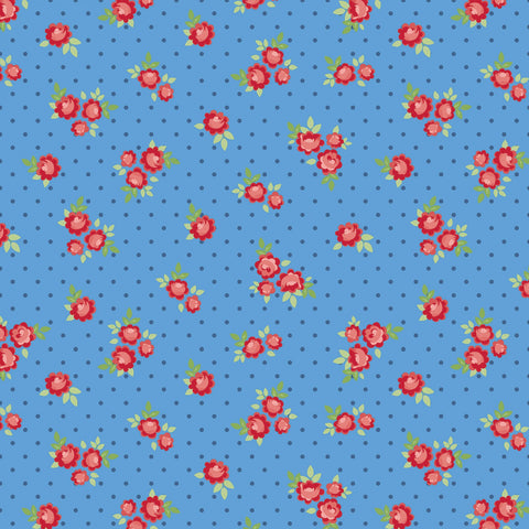Harry Tiny Rose Blue  Fabric - StoryQuilts.com