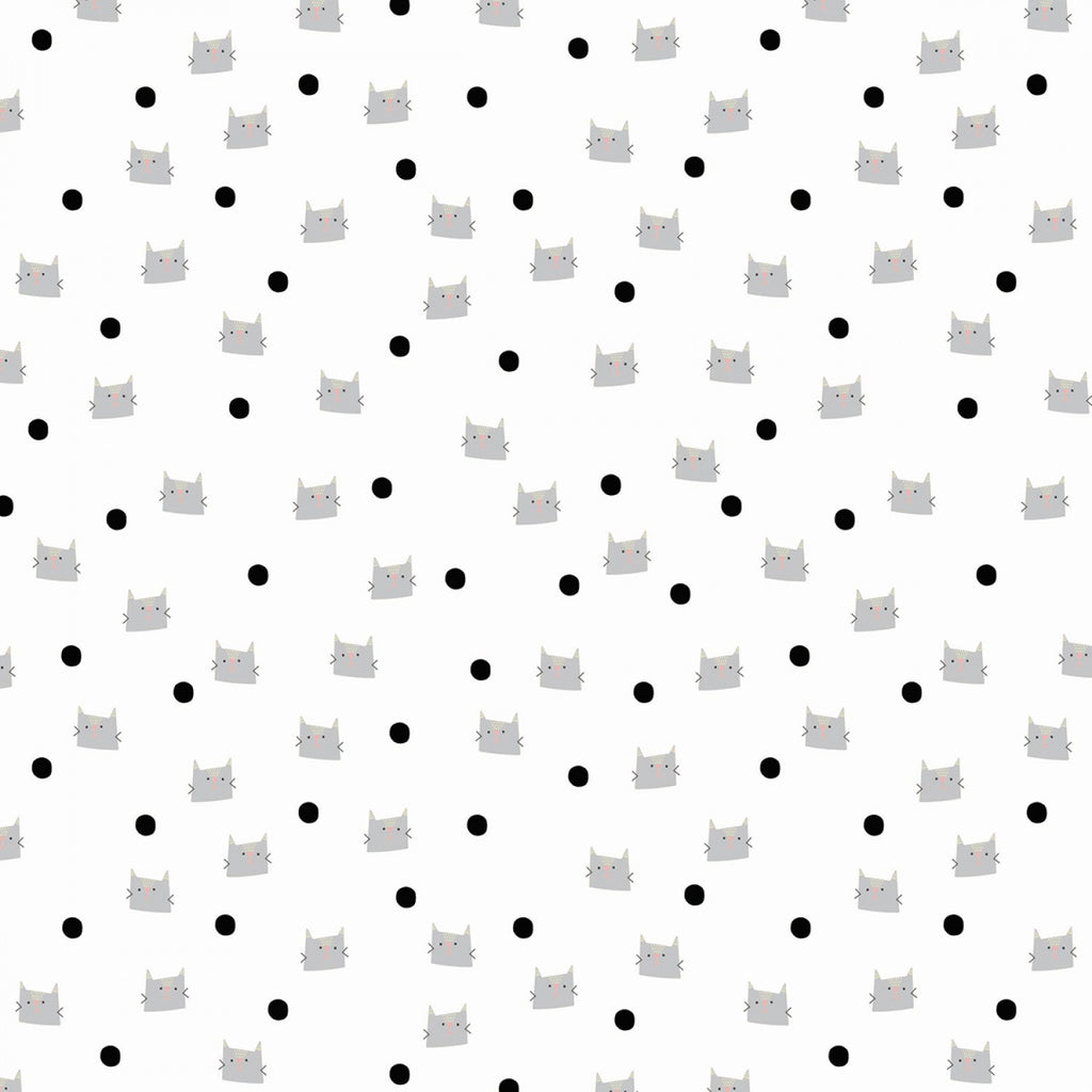 Meow And Forever Dots White  Fabric - StoryQuilts.com