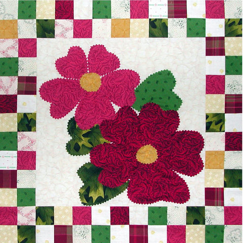 Winter Roses - Checkerboard Flowers  Pattern - StoryQuilts.com
