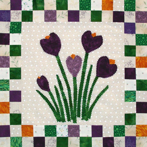 Crocus Up - Checkerboard Flowers  Pattern - StoryQuilts.com