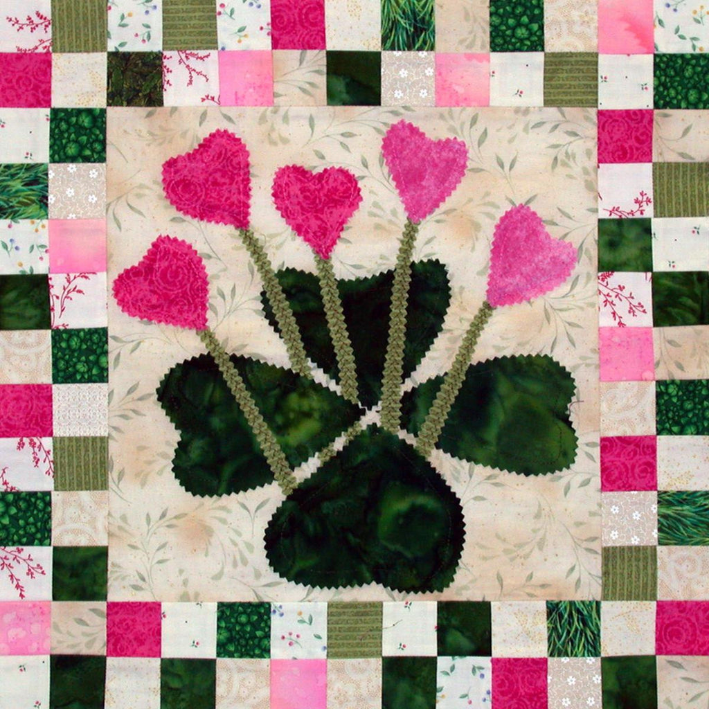 Irish Spring - Checkerboard Flowers  Pattern - StoryQuilts.com