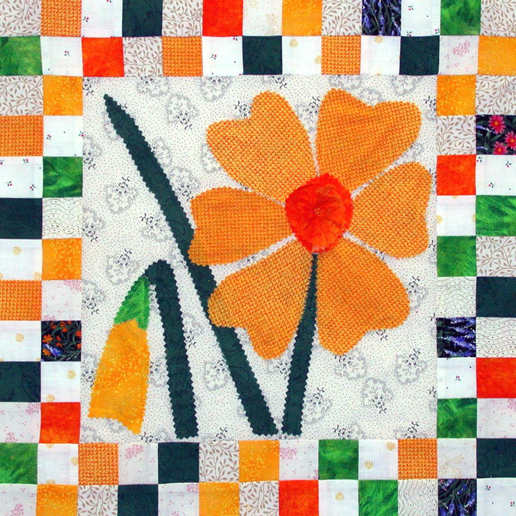 Daffies - Checkerboard Flowers  Pattern - StoryQuilts.com