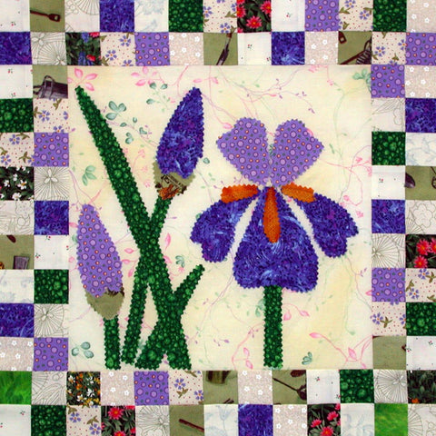 Iris Rising - Checkerboard Flowers  Pattern - StoryQuilts.com