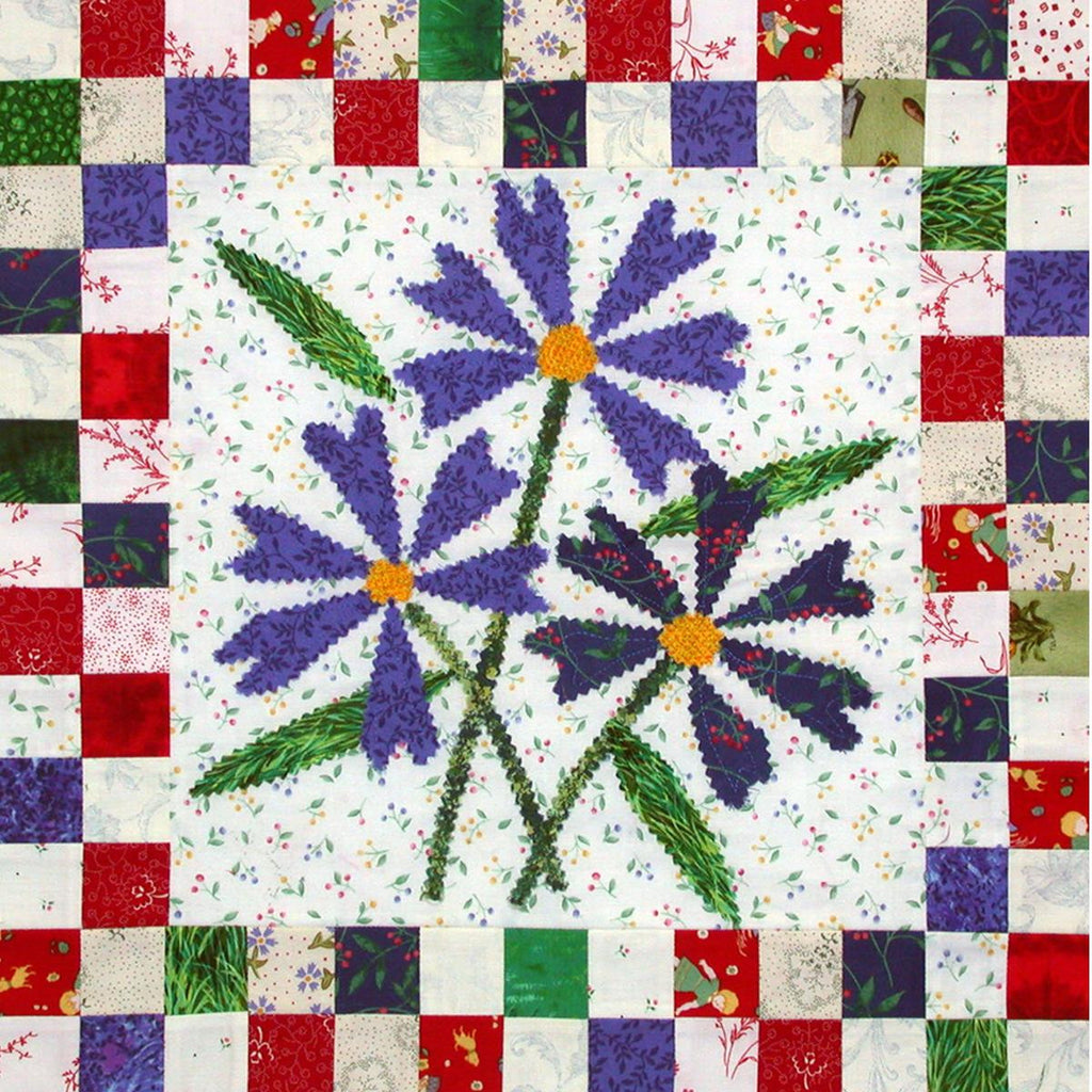 Bachelor Buttons - Checkerboard Flowers  Pattern - StoryQuilts.com