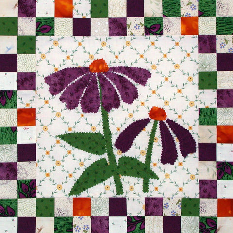 Coneflowers - Checkerboard Flowers  Pattern - StoryQuilts.com