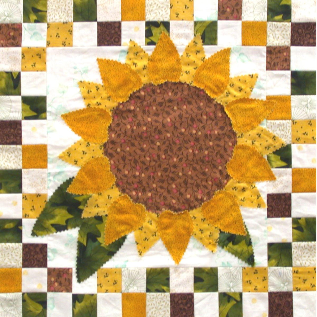 Sunflowers - Checkerboard Flowers  Pattern - StoryQuilts.com