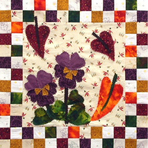 Autumn Joys - Checkerboard Flowers  Pattern - StoryQuilts.com