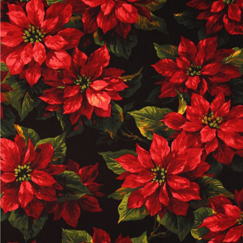 Black Scarlet Poinsettia  by Michael Miller  Fabric - StoryQuilts.com