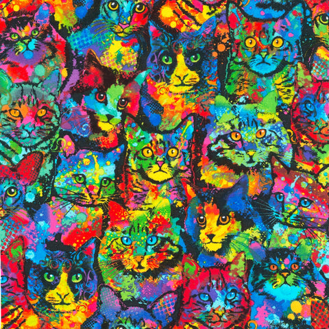 Multi Painted Cats Knit  Fabric - StoryQuilts.com