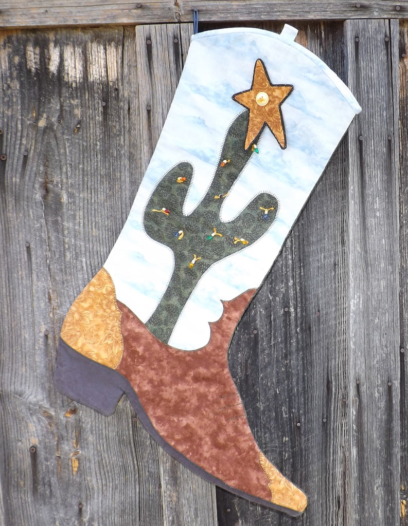Cactus Boot Christmas Stocking  Pattern - StoryQuilts.com