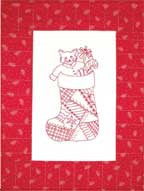 Christmas Stocking - Redwork  Pattern - StoryQuilts.com